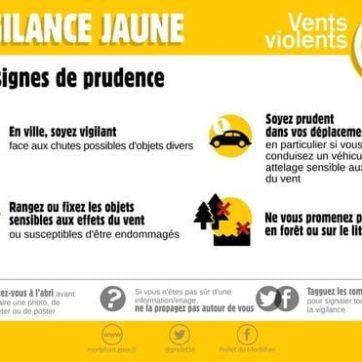 Alerte jaune vents violents
