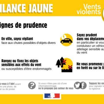 Vigilance jaune – vents violents
